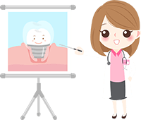 Cartoon illustration of a woman doctor pointing to an image of a dental implant topped with a dental crown with a smiley face